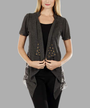 Lily Gray Snake-Contrast Sidetail Cardigan - Women