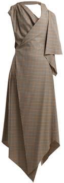 Awake Draped checked wool dress