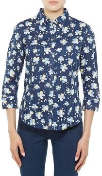 Allison Daley 3/4 Sleeve Floral Sheer Stripe Cotton Shirt