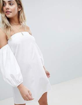 ASOS DESIGN Cotton Off Shoulder Mini Dress