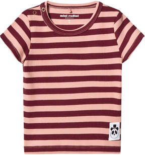 Mini Rodini Pink Striped Rib Tee