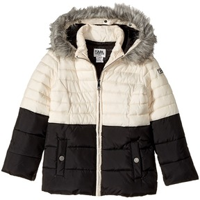 Karl Lagerfeld Two-Tone Puffer Jacket with Hood Girl's Coat