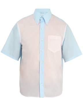 Prada Bicolour short-sleeved cotton shirt
