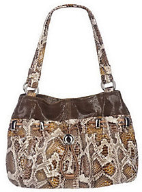 B. Makowsky As Is Snake Embossed E/W Drawstring Shopper