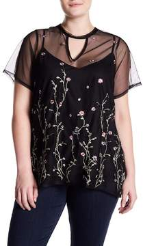 Hip Plus Size Gigi Embroidered Mesh Blouse