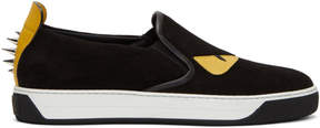 Fendi Black Suede Bag Bugs Slip-On Sneakers