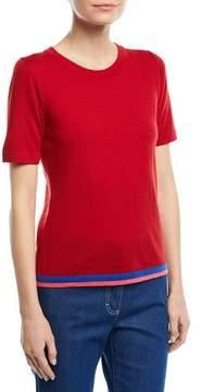 Escada Crewneck Short-Sleeve Virgin Wool Top with Contrast Trim