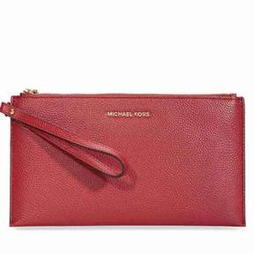 Michael Kors Mercer Large Leather Wristlet- Burnt Red - ONE COLOR - STYLE