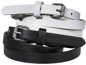 Mossimo Women's Two Pack Skinny Belt - Black & White