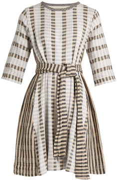 Ace&Jig Margot round-neck striped-jacquard cotton dress