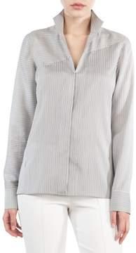 Akris Stripe Silk Satin Tunic Blouse