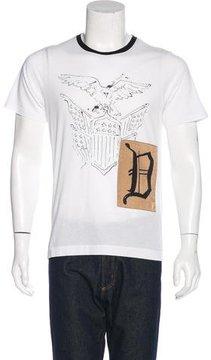 Dries Van Noten Satin-Paneled Old English T-Shirt w/ Tags