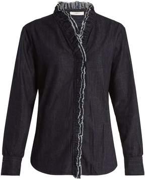 Etoile Isabel Marant Wendy ruffle-trimmed chambray shirt