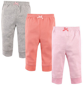Luvable Friends Light Pink & Coral Stripe Ankle Pants Set - Toddler & Girls