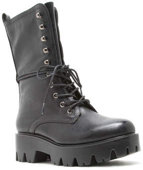 Qupid Black Russo Combat Boot - Women