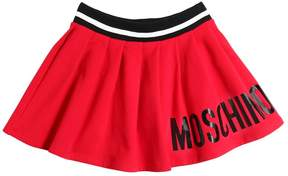 Moschino Logo Printed Pleated Cotton Skirt