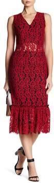 Alexia Admor Sheer Floral Lace Midi Dress