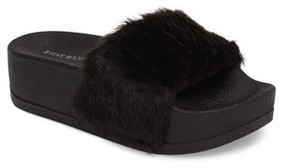 Steve Madden Women's Softey Faux Fur Platform Slide