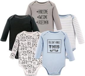 Hudson Baby Light Blue & Gray Mustache Long-Sleeve Bodysuit Set - Newborn & Infant