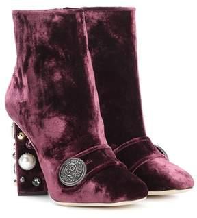 Dolce & Gabbana Embellished velvet ankle boots