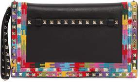 Valentino Maxi Ethnic Frame Leather Clutch