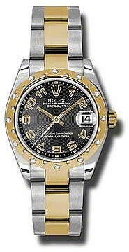 Rolex Datejust Lady 31 Black Concentric Circle Dial Stainless Steel and 18K Yellow Gold Oyster Bracelet Automatic Watch