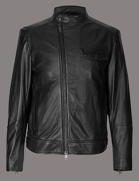 Marks and Spencer Leather Asymmetric Zipped Jacket