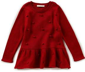 Copper Key Little Girls 2T-6X Peplum Pom-Pom Sweater
