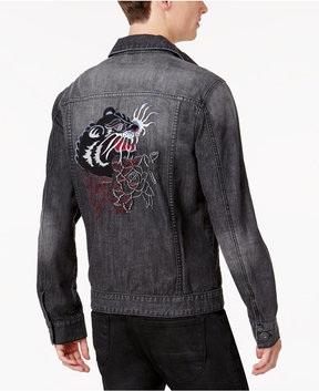 INC International Concepts Anna Sui x Men's Embroidered Panther Destroyed Denim Jacket, Created for Macy's