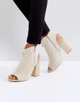 Glamorous Stud Peeptoe Heeled Ankle Boots