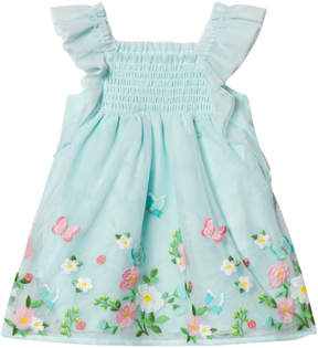 Mayoral Aqua Embroidered Tulle Dress