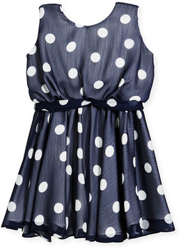 Helena Sleeveless Polka-Dot Dress, Size 4-6
