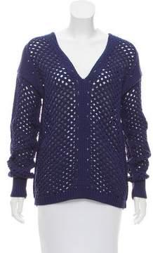 White + Warren Open-Knit V-Neck Sweater