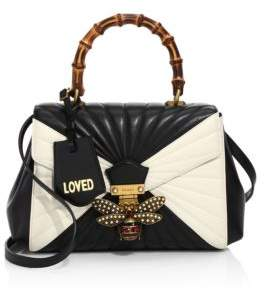 Gucci Queen Margaret Quilted Leather Top Handle Bag - BLACK-WHITE - STYLE