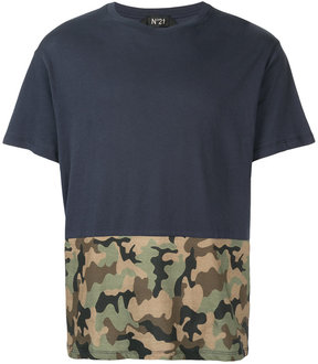 No.21 camouflage panel T-shirt