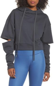 Alo Women's Peak Cutout Long Sleeve Pullover Crop Hoodie
