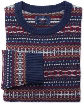Charles Tyrwhitt Navy Multi Fairisle Crew Neck Wool Sweater Size Large