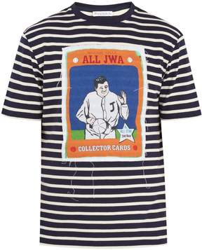 J.W.Anderson Baseball card-appliqué striped cotton T-shirt
