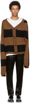 Raf Simons Tan and Black Disturbed Stripes Cardigan
