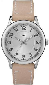 Timex Women's New England Silver-Tone Dial Watch, Sand Leather Strap