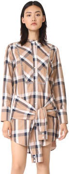 Derek Lam 10 Crosby Collarless Tie Waist Shirtdress