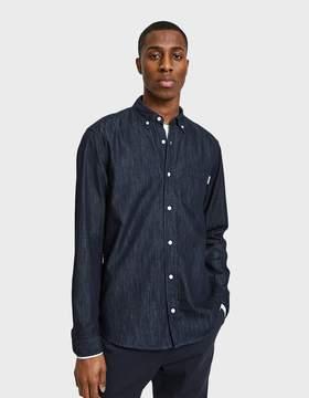 Carhartt Wip L/S Civil Shirt in Blue Rinsed