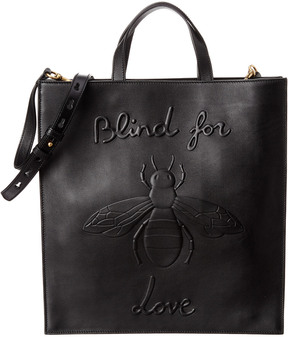 Gucci Bee Embossed Leather Soft Tote