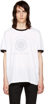 Saint Laurent White Université Logo Ringer T-Shirt