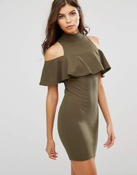 AX Paris Cold Shoulder High Neck Mini Dress With Ruffled Detail