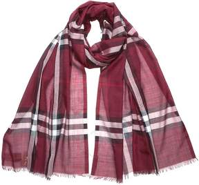 Burberry Lightweight Check Wool and Silk Scarf- Plum Check
