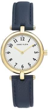 Anne Klein Goldtone Navy Faux Leather Strap Watch