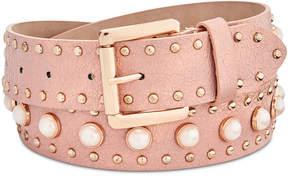 Steve Madden Imitation Pearl Studded Belt