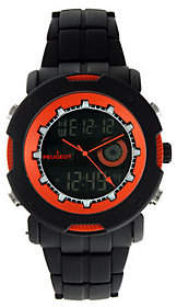 Peugeot Men's Digital Chronograph Black and Orange Watch