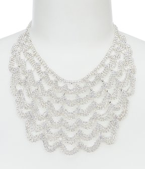 Cezanne Scalloped Faux-Crystal Statement Necklace